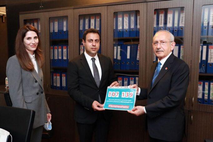 İklim Değişikliği Politika ve Araştırma Derneği toplanan imzaları CHP lideri Kılıçdaroğlu'na teslim etti